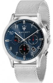 WATCH MASERATI RICORDO 42MM CHR BLUE DIAL MESH SS R8873625003
