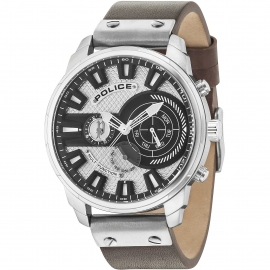 WATCH POLICE LEICESTER MULTI SILVER DIAL BROWN STRAP R1451285002
