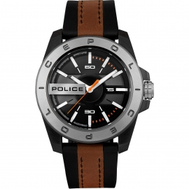WATCH POLICE CHELTENHAM 46MM 3H BLA DIAL BLUE&BWN ST R1453310002