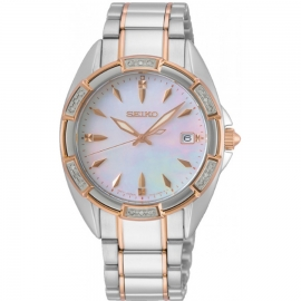 WATCH SEIKO LADIES CUARZO 18 DIAMANTES MOP SKK878P1