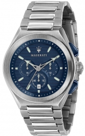 WATCH MASERATI TRICONIC 43MM CHR BLUE DIAL BR SS R8873639001