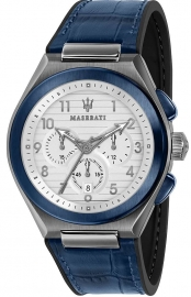WATCH MASERATI TRICONIC 43MM CHR WHITE DIAL BLUE ST R8871639001