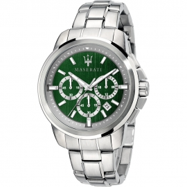 WATCH MASERATI SUCCESSO 44MM CHR GREEN DIAL BR SS R8873621017