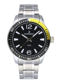 WATCH RADIANT OVI 44MM BLACK DIAL SILVER SS BAND RA534201