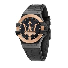 WATCH MASERATI POTENZA 42MM 3H BLK DIAL BLK ST RG PVD R8851108032