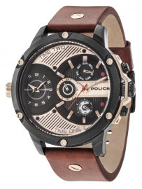 WATCH POLICE LEADER MULTI BLACK DIAL BROWN STRAP R1451288001