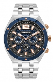 WATCH POLICE KEDIRI DUAL TIME BLUE & RG DIAL SS BAND PL.15995JSTBL-61M