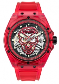 WATCH POLICE TRANSLUCENT AUTO 44MM RED SILICONE STRAP PL.15924JPR-16P