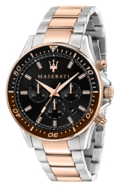 WATCH MASERATI SFIDA 44MM CHR BLACK DIAL BR SS+RG R8873640009