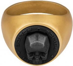WATCH POLICE JEWELS JUNEAU RING GOLD & BLACK SKULL SIZE 10 PJ.26579RSG-04-62