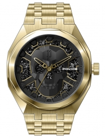 WATCH POLICE KEDIRI 3H BLACK GOLD DIAL / IPG BRACELET PEWJG2110703